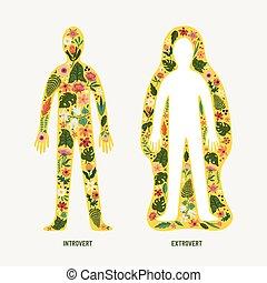 concepto, dentro, flores, emociones, extraversion, siluetas, imagen, introversión, cuerpos, resumen, extrovertido, humano, dos, -, exterior, introvert.