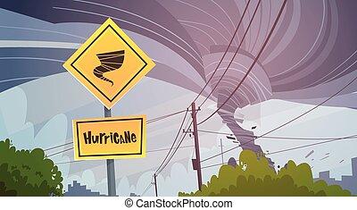 concepto, desastre natural, peligro, tornado, cielo, huracán, señal, camino, tormenta, tromba marina, tornado, paisaje