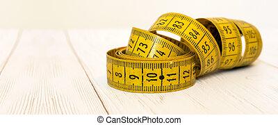 concepto, -, dieta, cintamétrica, bandera, salud