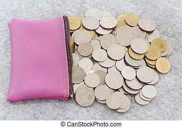concepto, dinero, bolsa, coins, ahorro