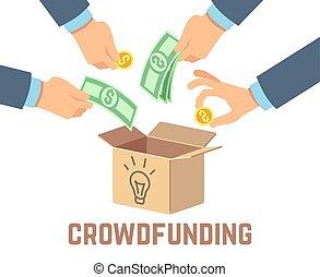 concepto, dinero, crowdfunding., crowdsourcing, vector,...