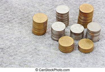 concepto, dinero del ahorro, crecer, moneda, pila