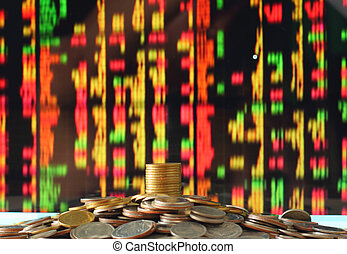 concepto, dinero del ahorro, mancha, mercado, acción