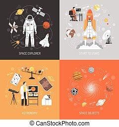concepto, diseño, astronomía, 2x2