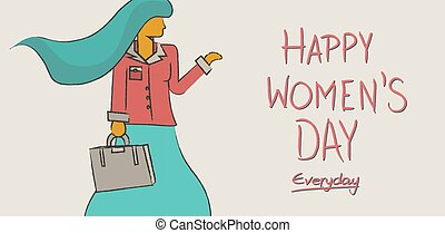 concepto, diseño, internacional, womens, día, feliz