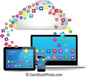 concepto, diseño, nube, informática