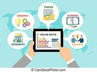 concepto, diseño, oficina, en línea