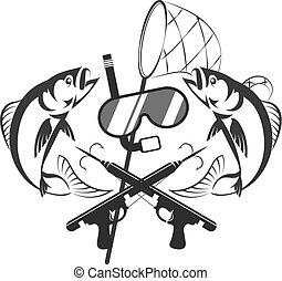 concepto, diseño, spearfishing