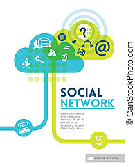 concepto, disposición, red, medios,  social, cubierta, aviador, diseño, Plano de fondo, cartel, folleto, nube