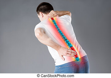 concepto, dolor, quiropráctica, tratamientos, espina dorsal, espalda, humano, lesión, dolor de espalda, hombre