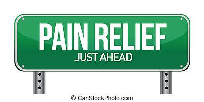 concepto, dolor, señal, tráfico, alivio, camino