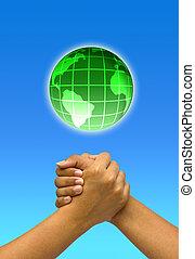 concepto, dos, acoplado, manos, con, globe.