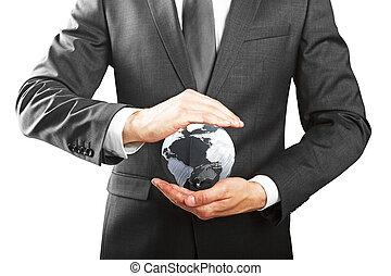 concepto, eco, empresa / negocio, ambiente, protección, amistoso