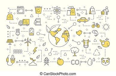 concepto, ecología, ilustración