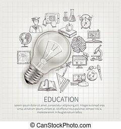 concepto, educación, ilustración