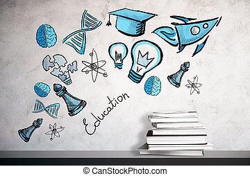 concepto, educación, liderazgo