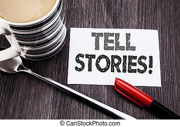 concepto, el storytelling, texto, papel pegajoso, marcador,...