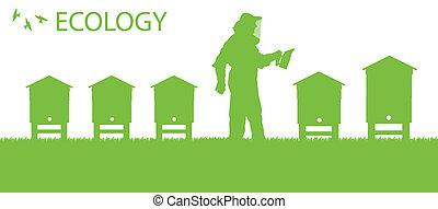 concepto, el suyo, trabajando, cartel, apicultor, vector, ...