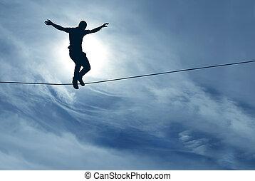concepto, el tomar del riesgo, soga, el balancear, desafío, hombre