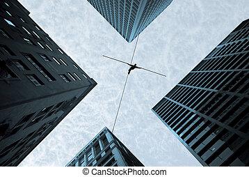 concepto, el tomar del riesgo, walker de tightrope, desafío