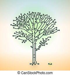concepto, electrónico, color, -, árbol, vector, tabla, circuito, tecnología digital