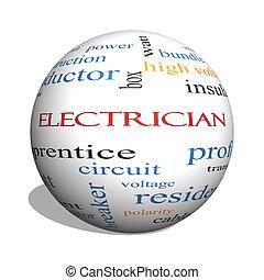 concepto, electricista, esfera, palabra, nube, 3d