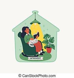 concepto, ella, debajo, sentado, extraversion, introversión, gato, gorra, vidrio, joven, sillón, -, libro, mujer, introvert., faldas