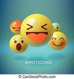concepto, emoji, emoticons, medios, smiley, social