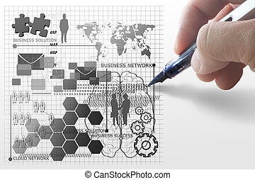 concepto, empates, red, empresa / negocio, mano