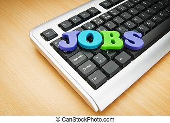concepto, empleo, palabras, teclado