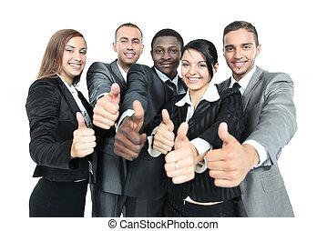 concepto, empresa / negocio, éxito, actuación, -, ganando, pulgares, equipo, feliz