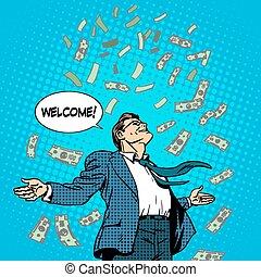 concepto, empresa / negocio, éxito, dinero, hombre de negocios volando