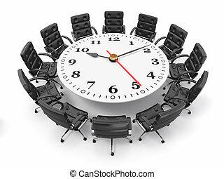 concepto, empresa / negocio, brainstorming., reunión, o, 3d