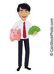 concepto, empresa / negocio, carácter, hombre asiático, caricatura