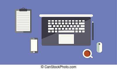 concepto, empresa / negocio, caricatura, escritorio, computadora, lugar de trabajo