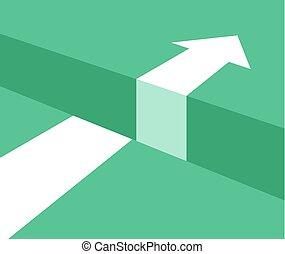 concepto, empresa / negocio, desafío, cucess, vector, flecha, abismo, obstáculo, concept.