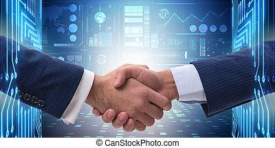 concepto, empresa / negocio, dos, cooperación, manos temblar