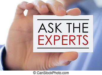 concepto, empresa / negocio, -, expertos, pregunte, tarjeta