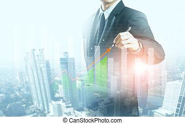 concepto, empresa / negocio, gráfico, crecimiento, levantamiento, hombre de negocios, presente