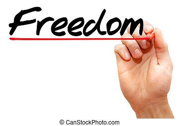 concepto, empresa / negocio, libertad, mano, escritura