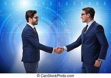 concepto, empresa / negocio, mano, hombres de negocios, cooperación, sacudida