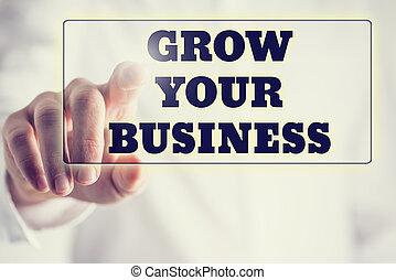 concepto, empresa / negocio, o, -, arriba, virtual, crecer,...