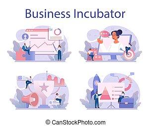 concepto, empresa / negocio, set., inversionistas, incubadora, gente