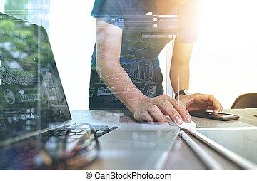 concepto, empresa / negocio, trabajando, de madera, computador portatil, mano, computadora, escritorio, hombre