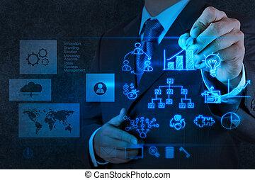 concepto, empresa / negocio, trabajando, moderno, mano,...
