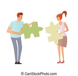 concepto, en, el, topic, de, compatibilidad, de, partners., problemas, de, comprensión mutua, entre, un, hombre, y, un, woman., pareja joven, tenencia, rompecabezas, pieces., vector, illustration.