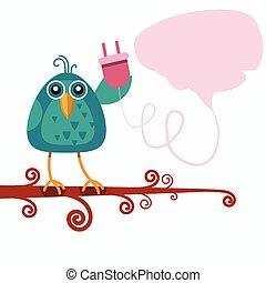 concepto, enchufe, sentado, conexión, salida, charla, rama, asimiento, burbuja, pájaro
