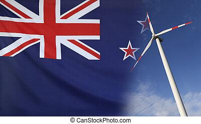 concepto, energía limpia, en, nueva zelandia