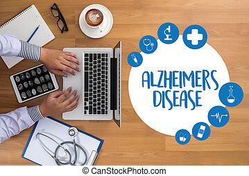 concepto, enfermedades, enfermedad de alzheimers, cerebro, parkinson, degenerativo