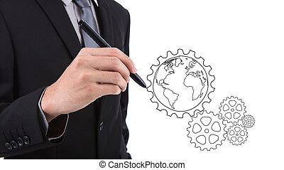 concepto, engranaje, éxito, mano, hombre de negocios, dibujo